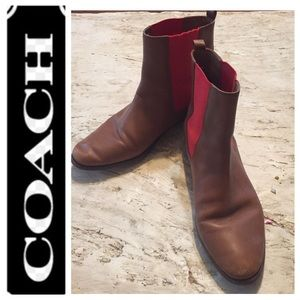 Coach Short Brown/Red Booties. Size 11M